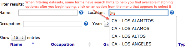 Illustration of search hint functionality